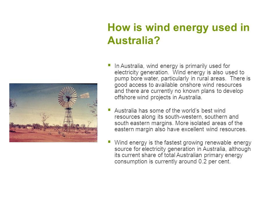 How is wind energy used in Australia