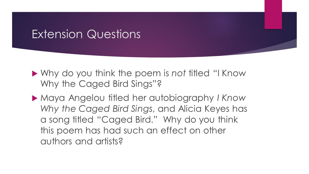 Extension Questions Why do you think the poem is not titled I Know Why the Caged Bird Sings