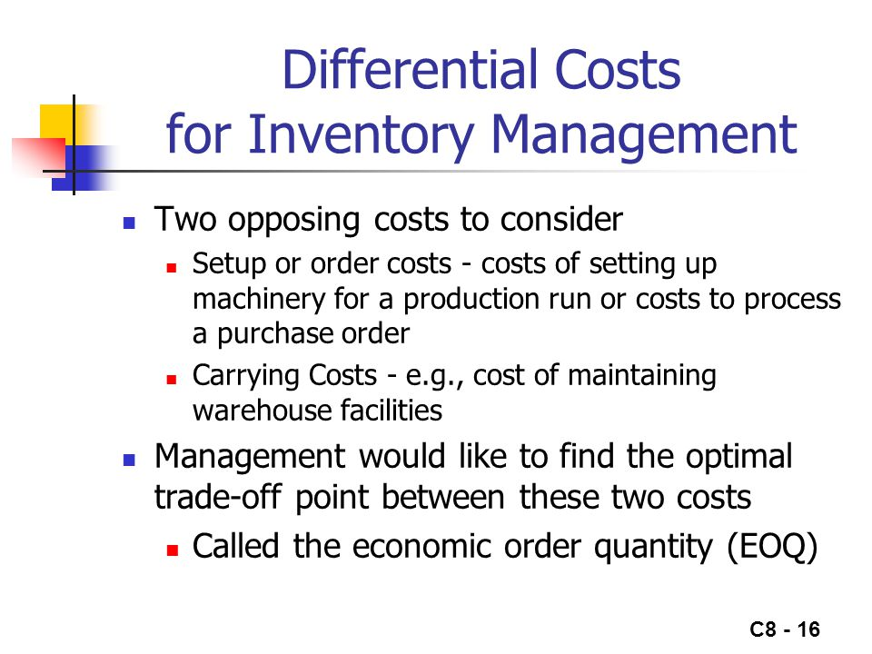 Differential Costs for Inventory Management
