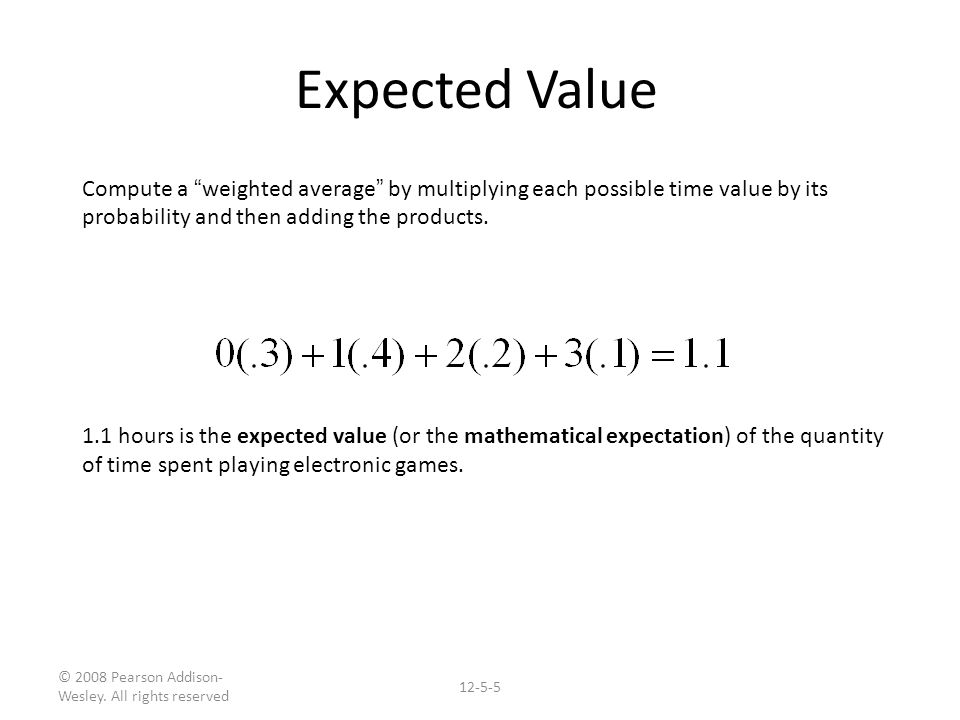 how to find the expected value of time