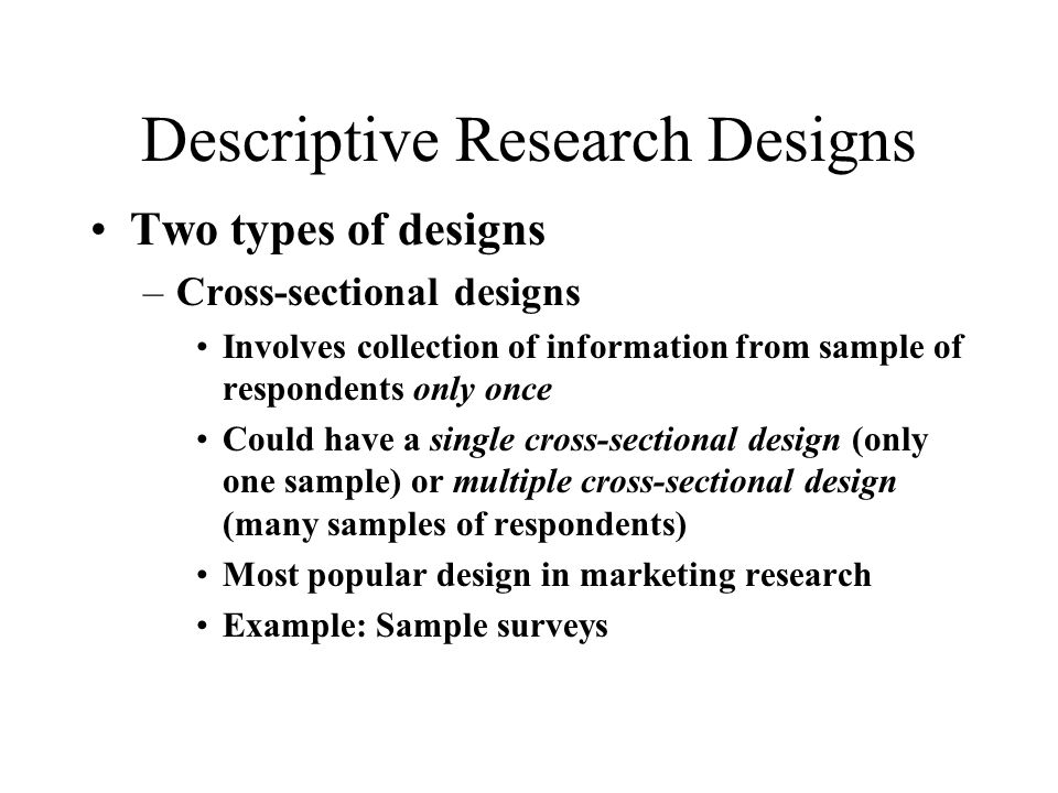 descriptive research examples Focus on research methods  abstract: the general view of descriptive research as a lower level form of  opposed to, for example, phenomenological or .