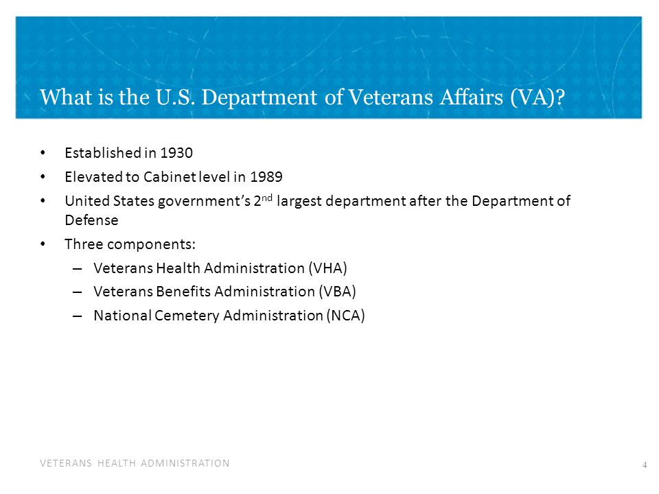 Today's presentation Overview of the U.S. Department of Veterans ...
