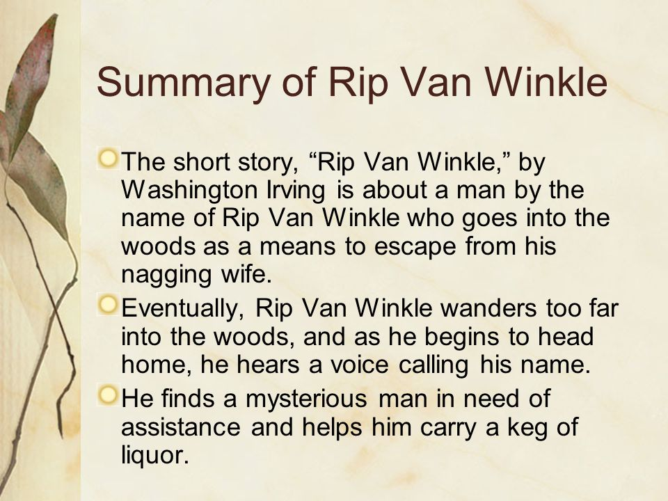 Rip van winkle Analysis Essay Example