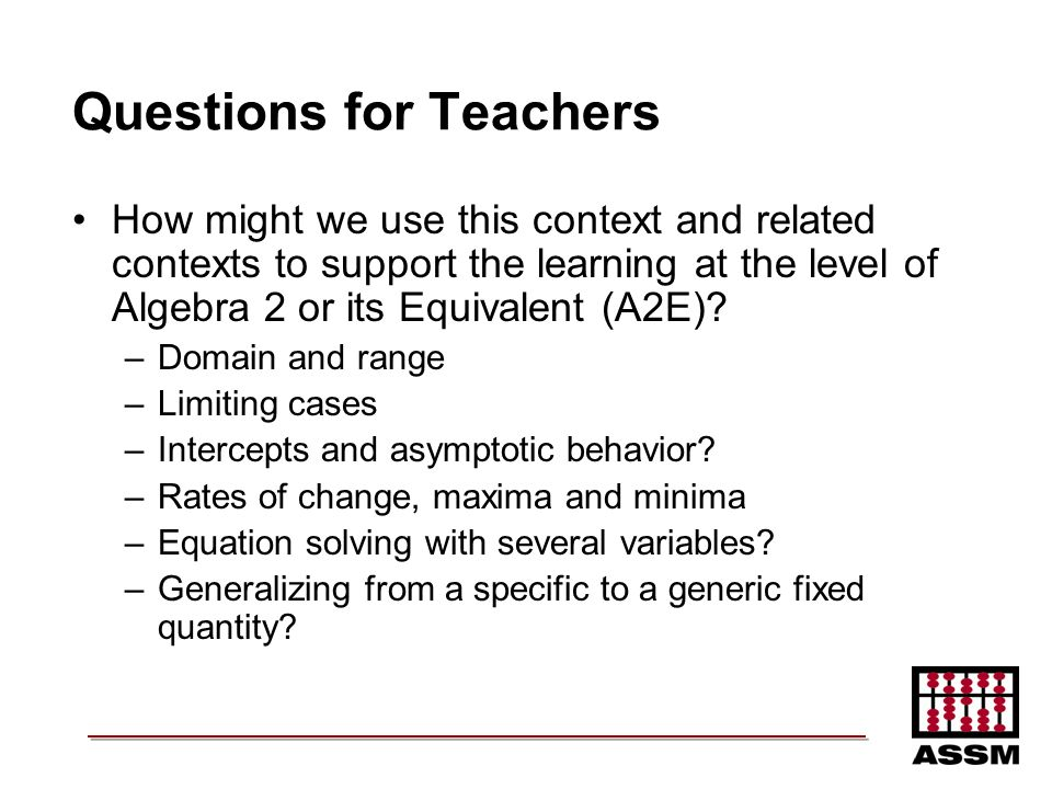 Questions for Teachers