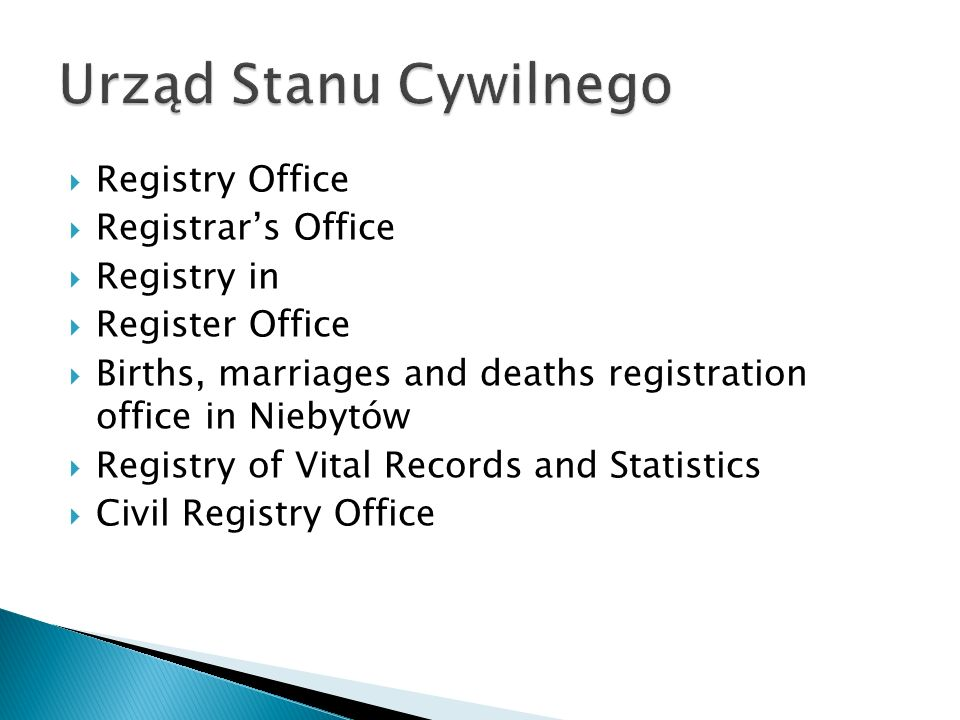 Urząd Stanu Cywilnego Registry Office Registrar's Office Registry in