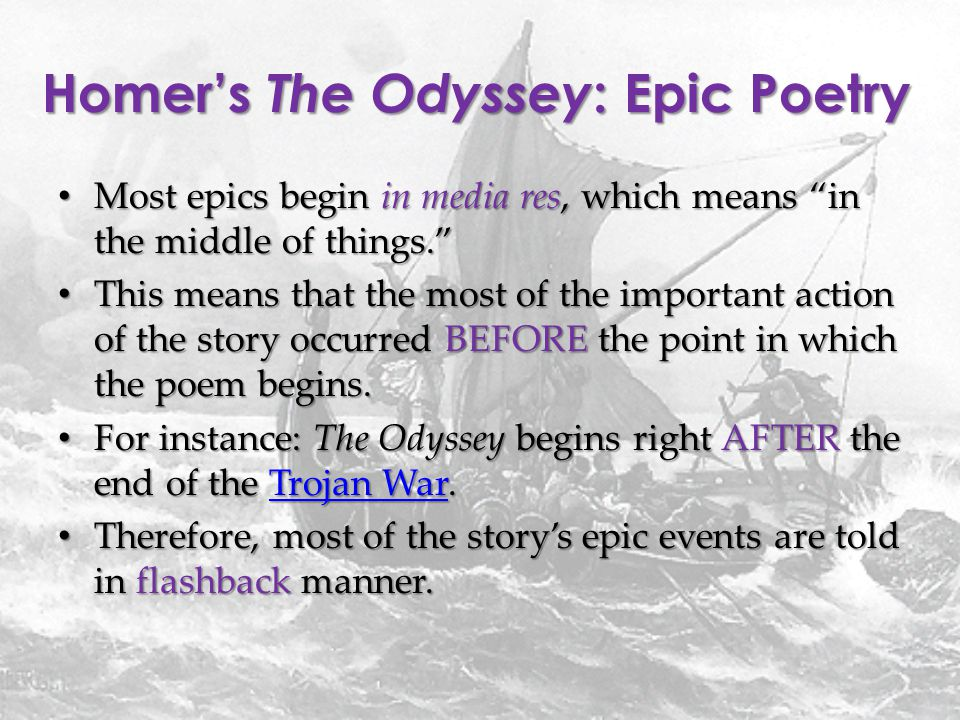 "an evaluation of the poem the odyssey by homer 2012-03-20 homer's the odyssey  an ancient blind poet the ""bard"" who composed the iliad and the odyssey between 900 and 700 bc homer did not  a long narrative poem that tells the adventures of a hero used to teach."