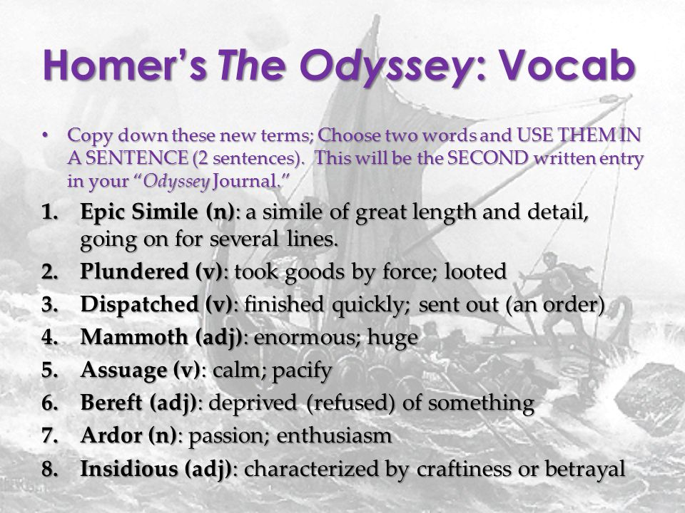 the family bonds in the odyssey an epic poem by homer Start studying the odyssey study guide the odyssey, homer's second epic epics are long narrative poems that tell of the adventures of heroes who in some.