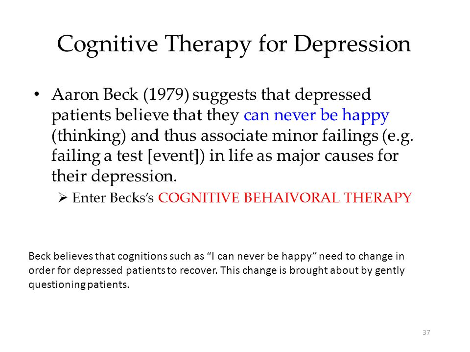 aaron beck s cognitive behavior therapy for depression The paperback of the cognitive therapy of depression by aaron t beck, a john rush,  and president emeritus of the beck institute for cognitive behavior therapy.