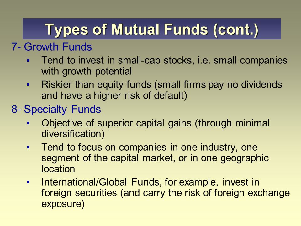 types of mutual funds pdf