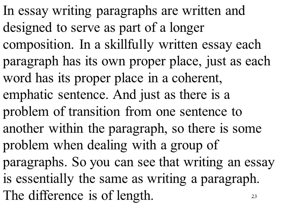 essay writing and paragraphs Regard the paragraph as the unit of organization for your essay (strunk and white 15) paragraphs can be of varying lengths, but they must present a coherent argument unified under a single topic.