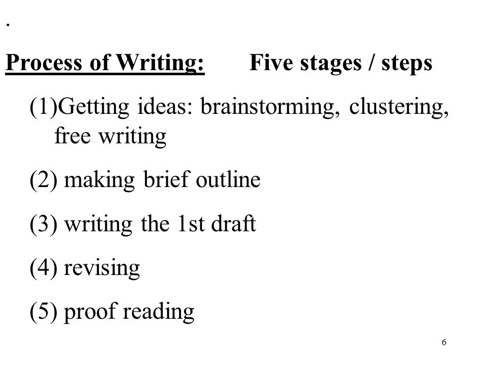 the process of writing an essay How to write a process essay basic process background information process essay outline this rubric is a condensed treatment of the process essay writing.