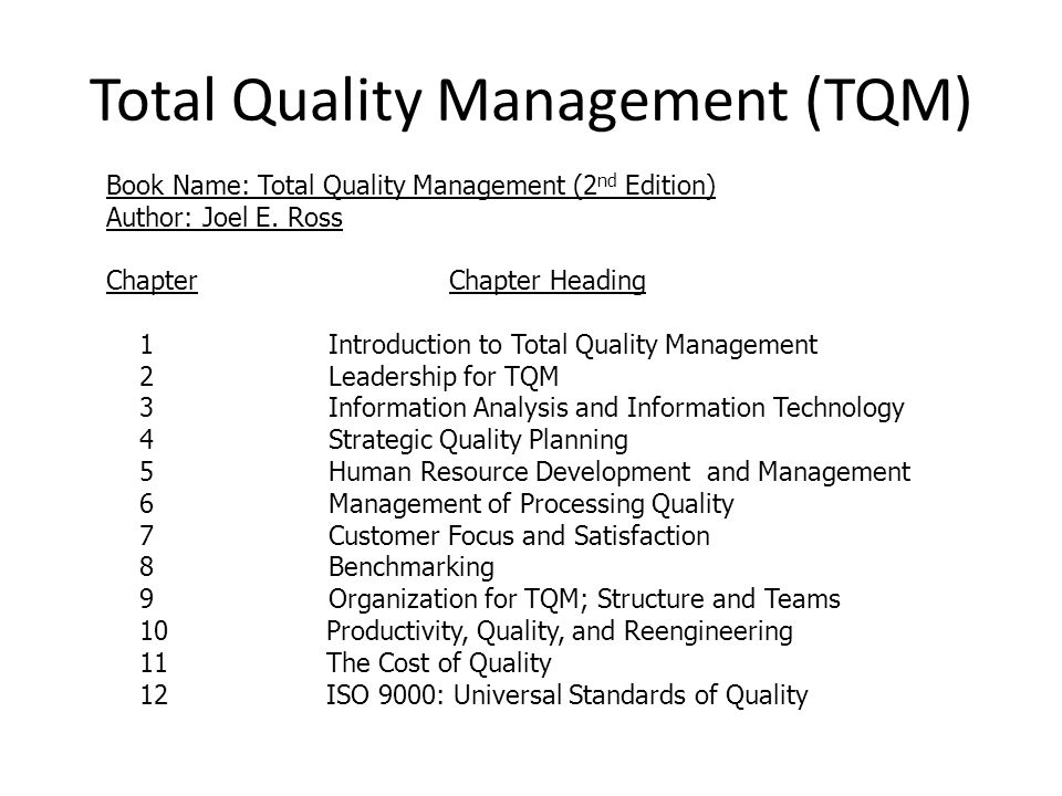 Principles of Total Quality Management in Small Business Environment