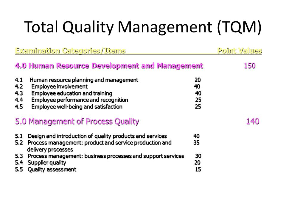total quality management growth Total quality management (tqm) refers to management methods used to enhance quality and productivity in business organizations tqm is a comprehensive management approach that works.