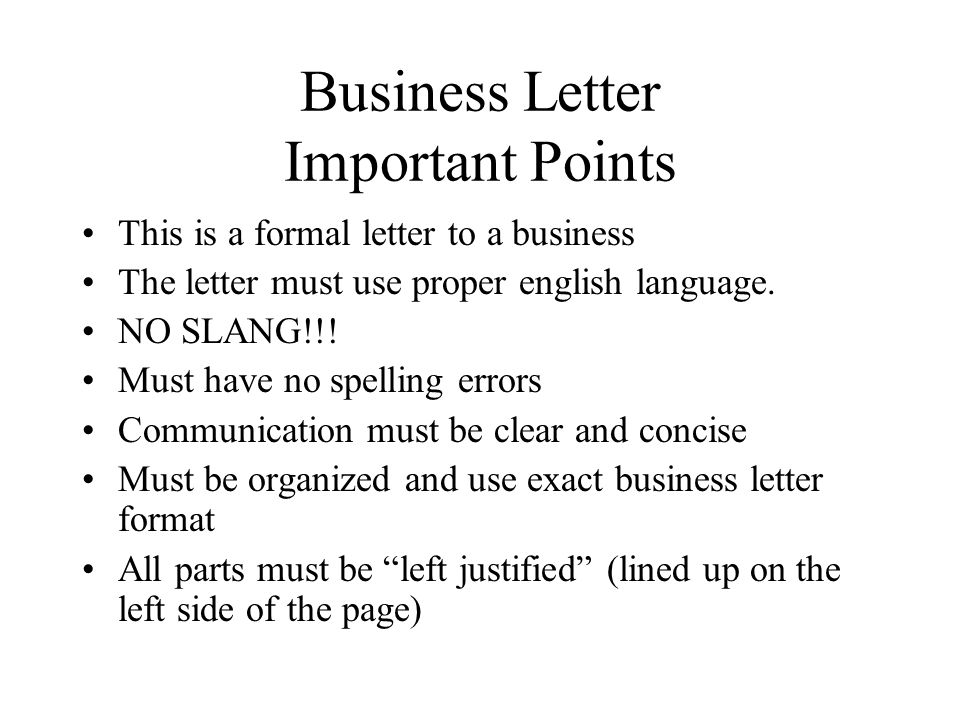 Business Letter Project