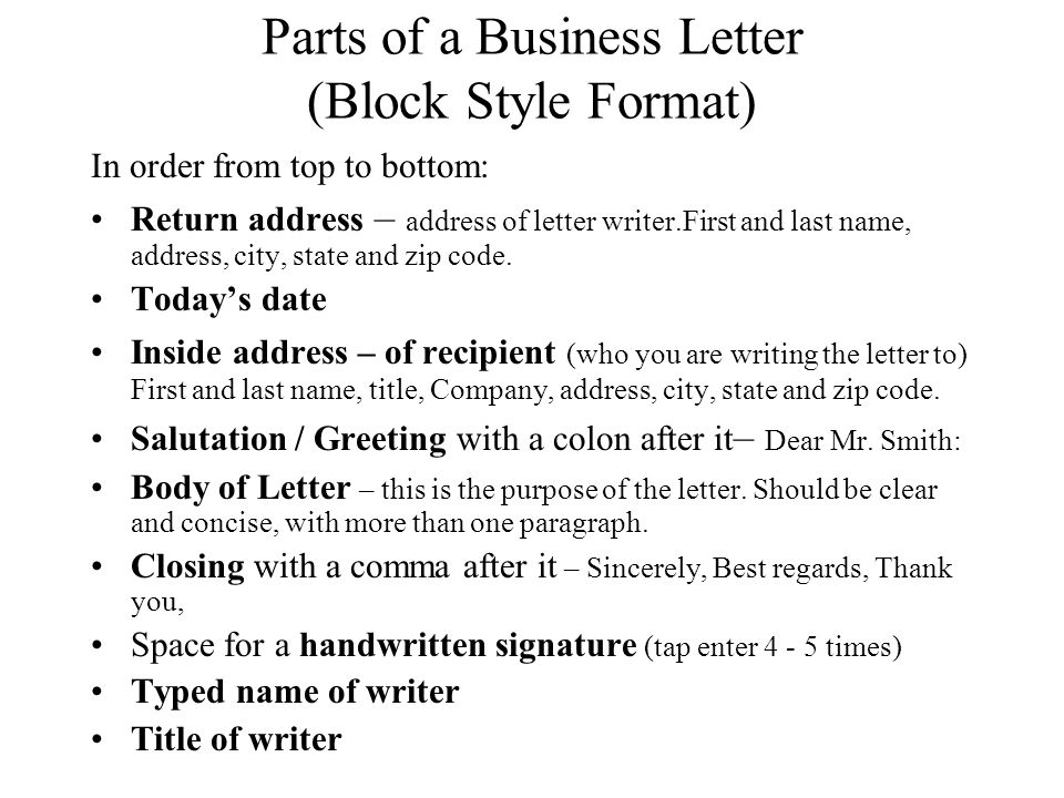 Business Letter Project ppt download – Parts of a Business Letter