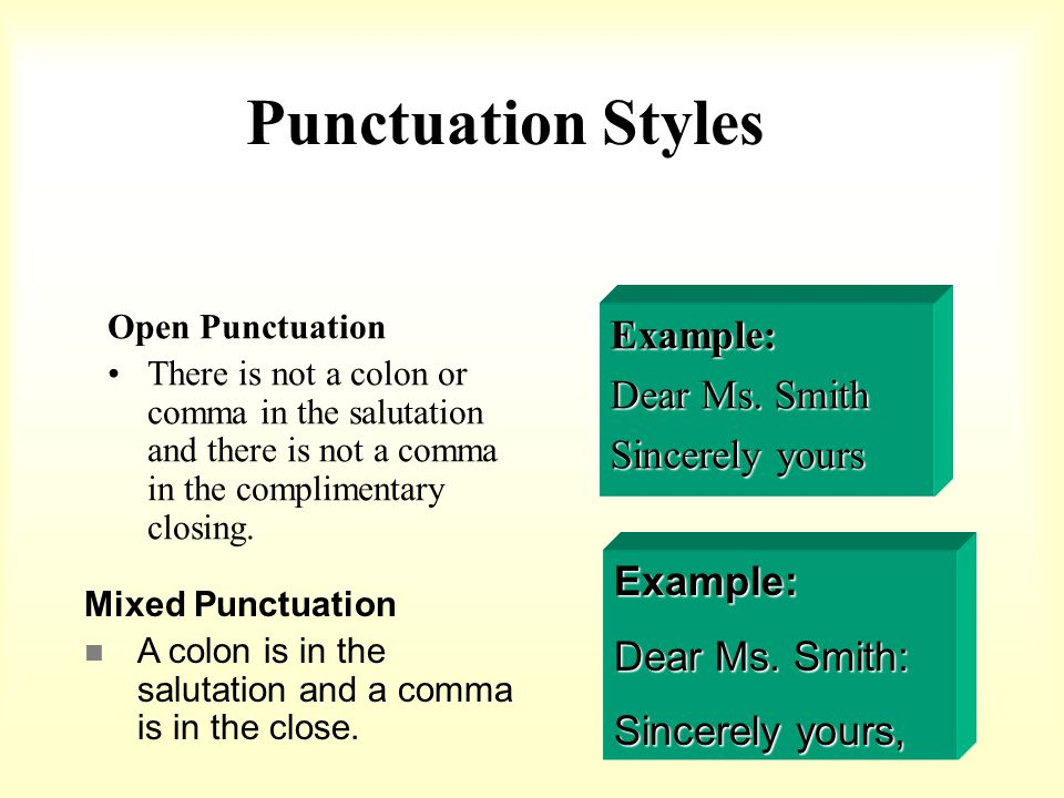 Punctuation Styles Example: Dear Ms. Smith Sincerely yours Example: