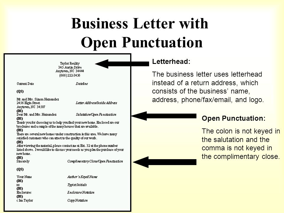 Business Letter with Open Punctuation