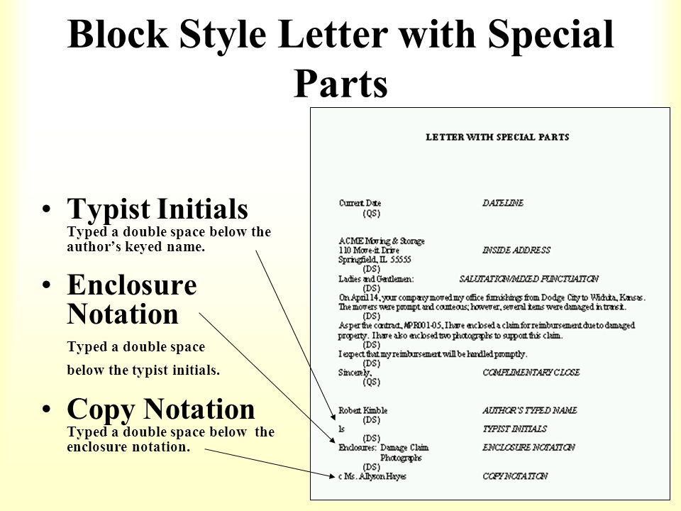 How to format a business letter ppt download block style letter with special parts spiritdancerdesigns Image collections