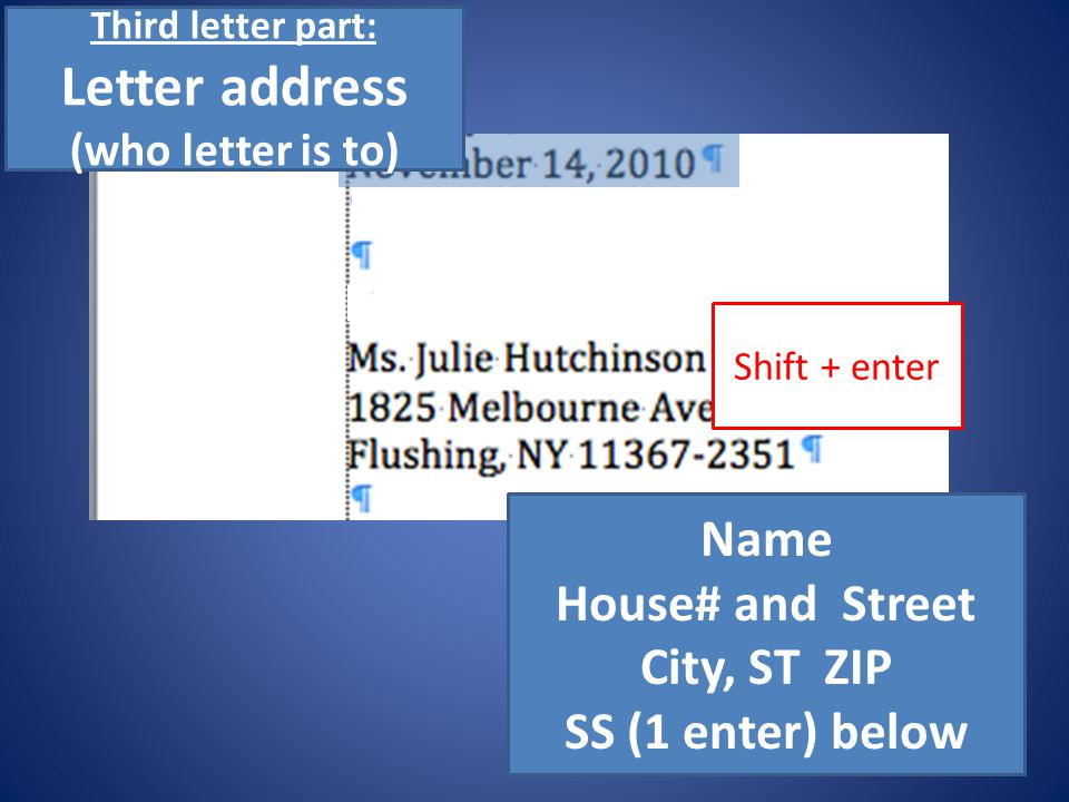 Letter address (who letter is to)
