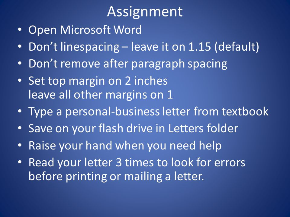 Assignment Open Microsoft Word