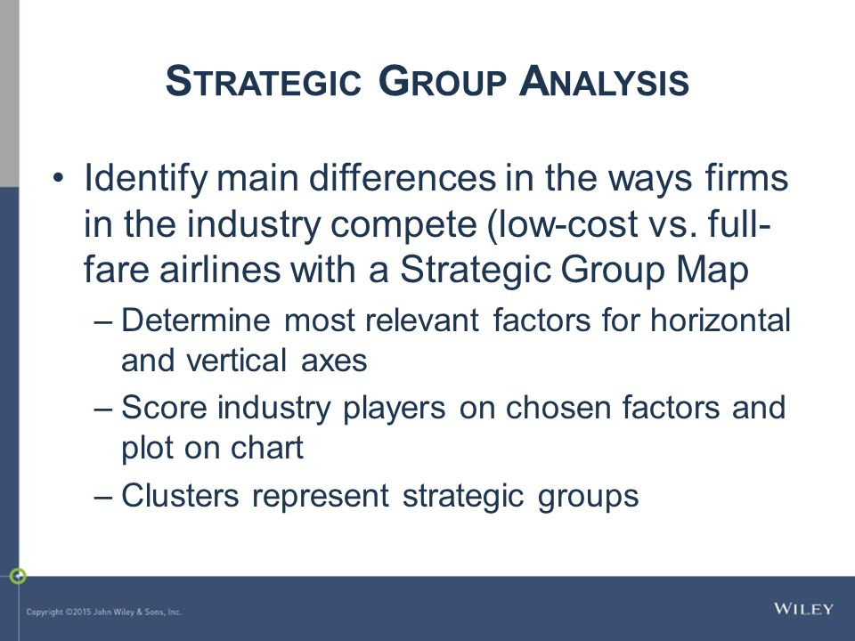 strategic group map of the low cost airline industry Identifying strategic groups in the us airline industry: an application of examines the competition issues facing low-fare airlines in the us and european carriers maintenance financial performance of the airline industry expansion of airline services fares competition.