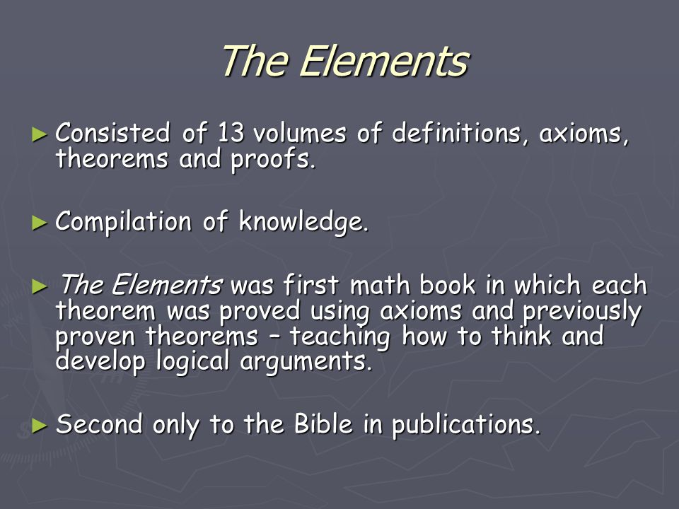 an analysis of magnitudes and numbers in euclids elements Generation to be examined in full force in book x of the elements (knorr, 1975 euclid, 2006) if it was not for plato's theaetetus and the accounts from eudemus, we may very well have attributed the entirety of the ideas of commensurable and incommensurable magnitudes to euclid.