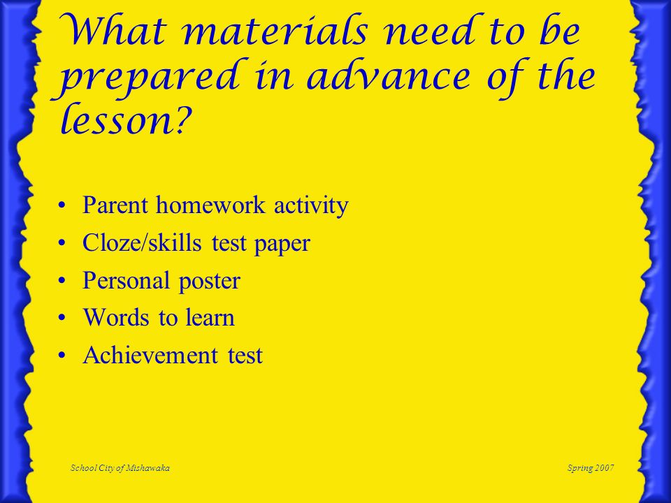 What materials need to be prepared in advance of the lesson