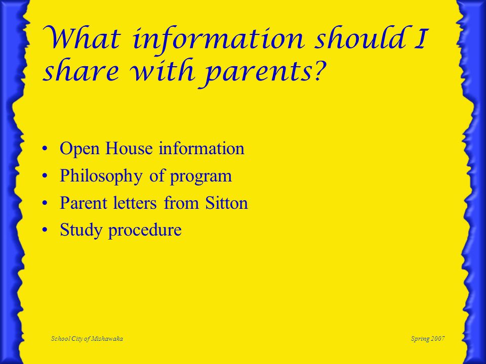 What information should I share with parents