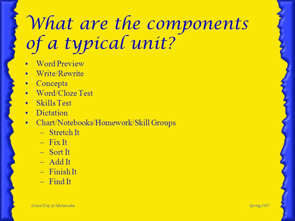 What are the components of a typical unit