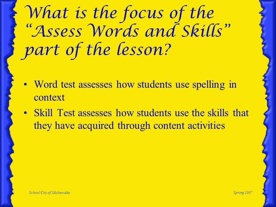 What is the focus of the Assess Words and Skills part of the lesson