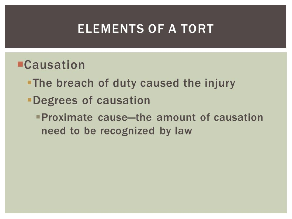 Elements of a tort Causation The breach of duty caused the injury