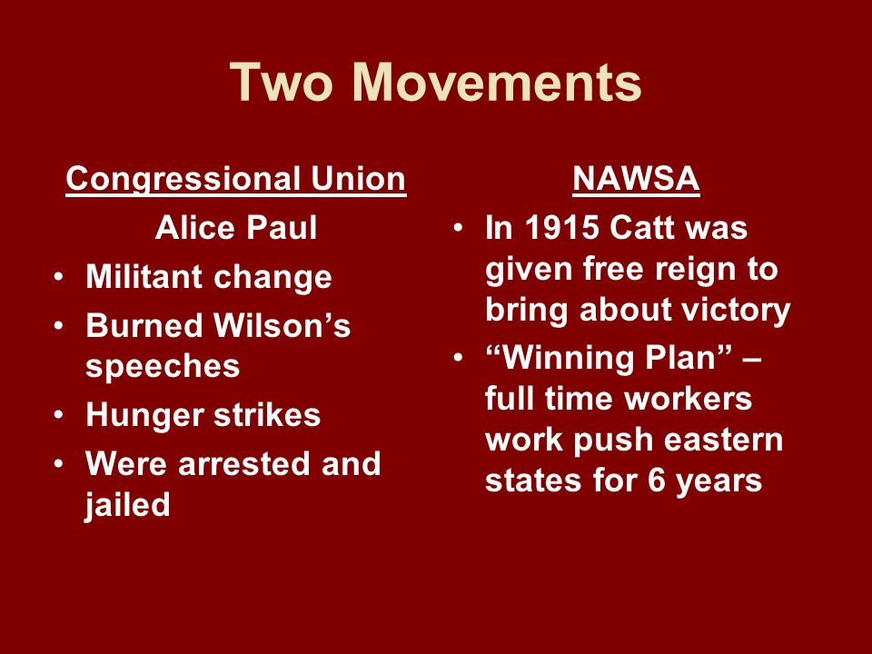 Two Movements Congressional Union Alice Paul Militant change