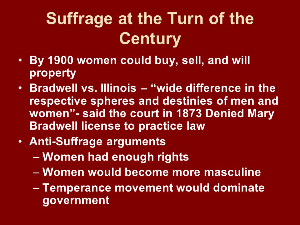 Suffrage at the Turn of the Century