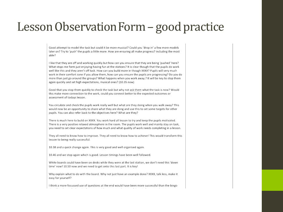 Lesson Observation Form – good practice