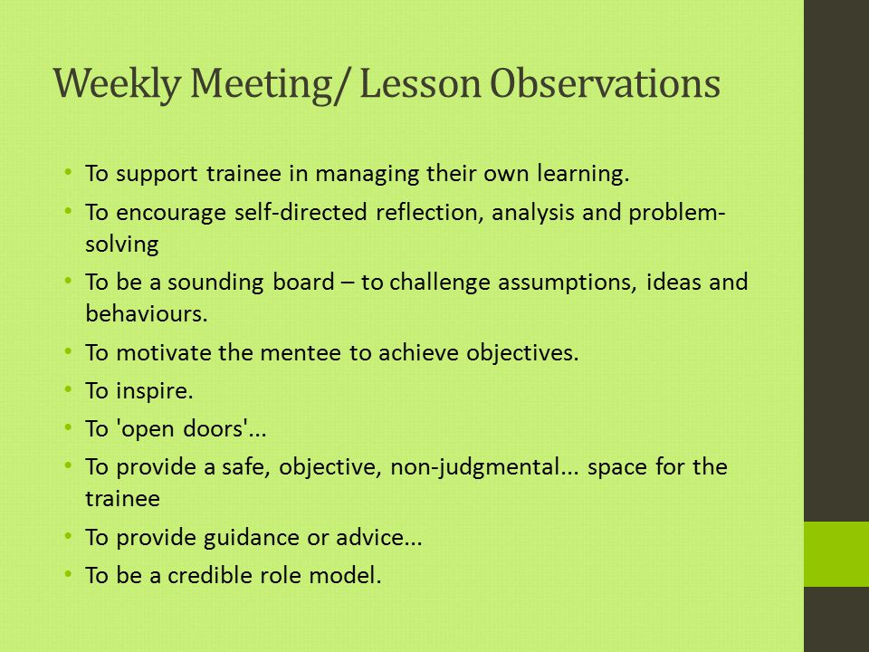 Weekly Meeting/ Lesson Observations