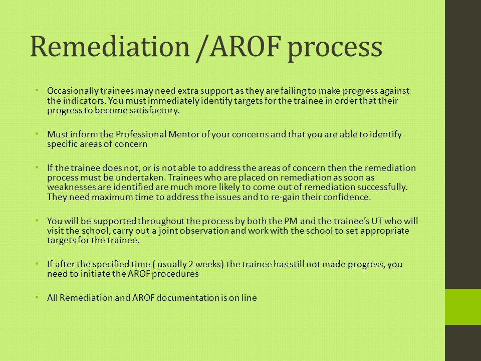 Remediation /AROF process