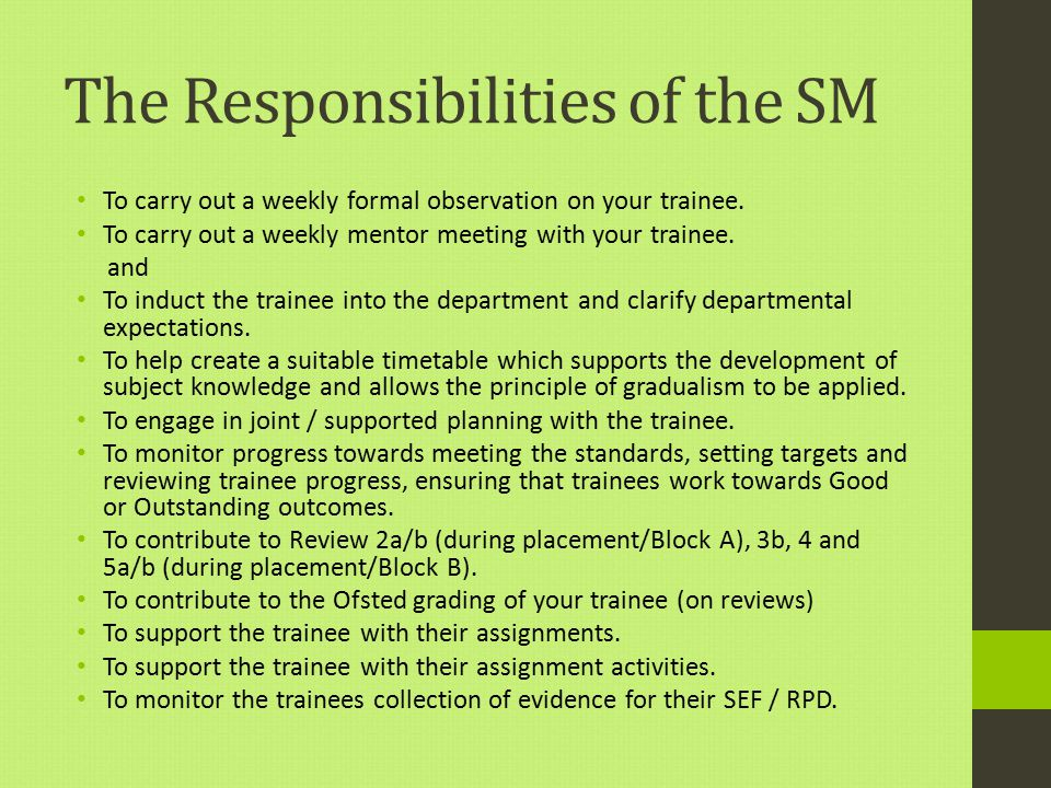The Responsibilities of the SM