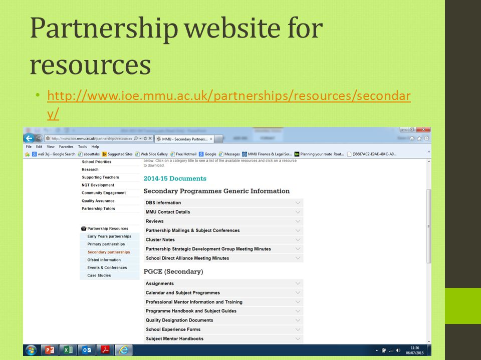 Partnership website for resources