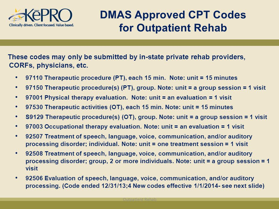 Mon Physical Therapy Cpt Codes