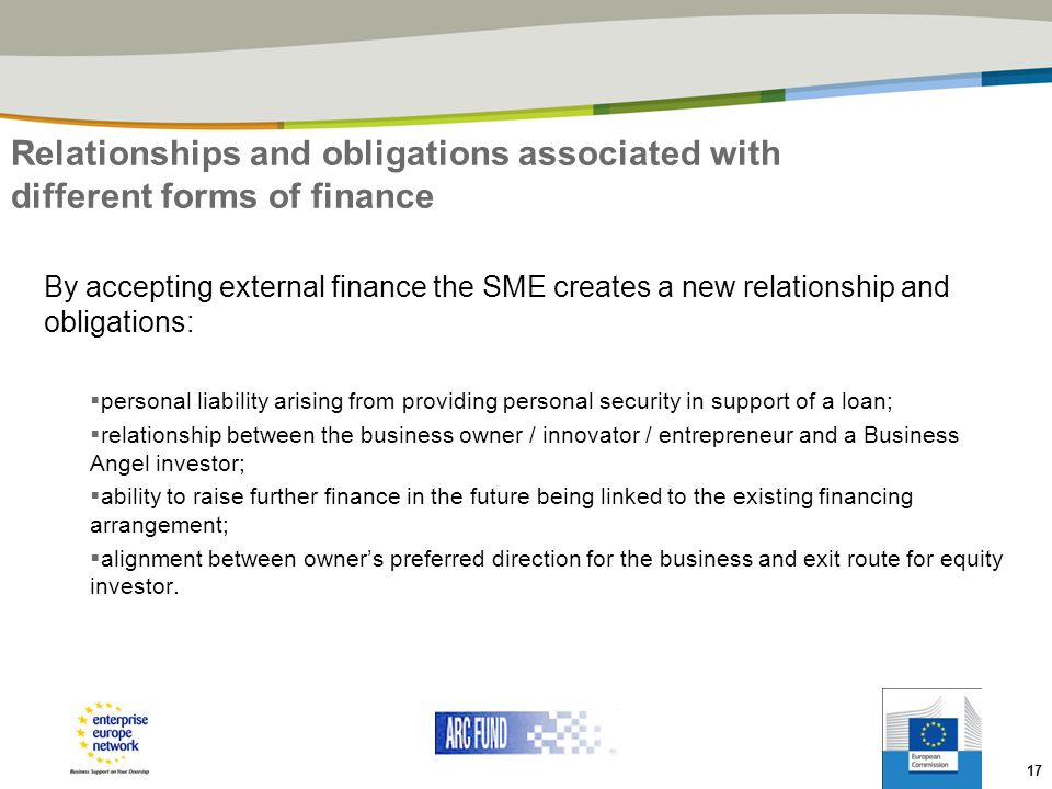 Relationships and obligations associated with different forms of finance