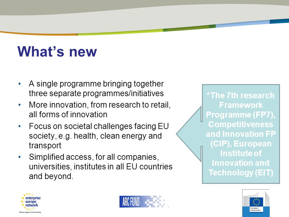 What's new A single programme bringing together three separate programmes/initiatives.