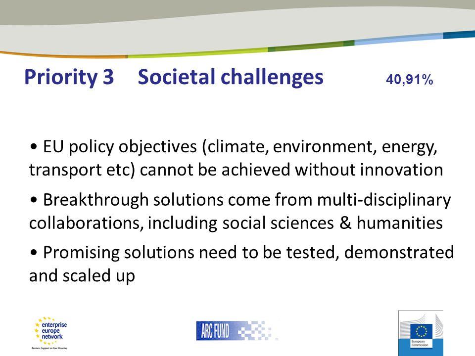 Priority 3 Societal challenges 40,91%