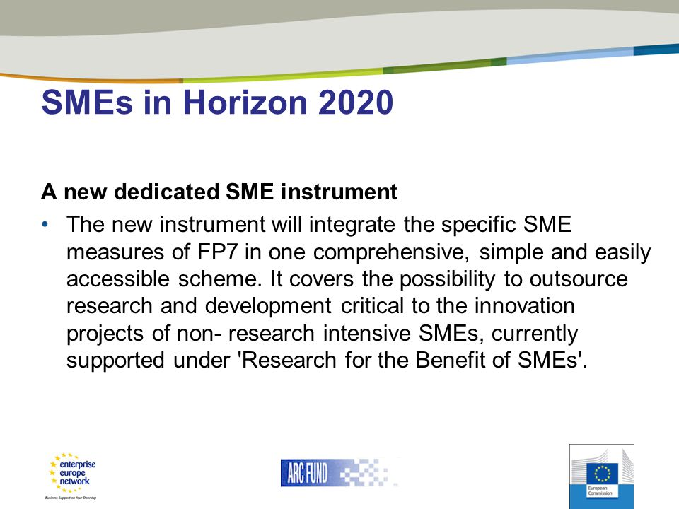 SMEs in Horizon 2020 A new dedicated SME instrument