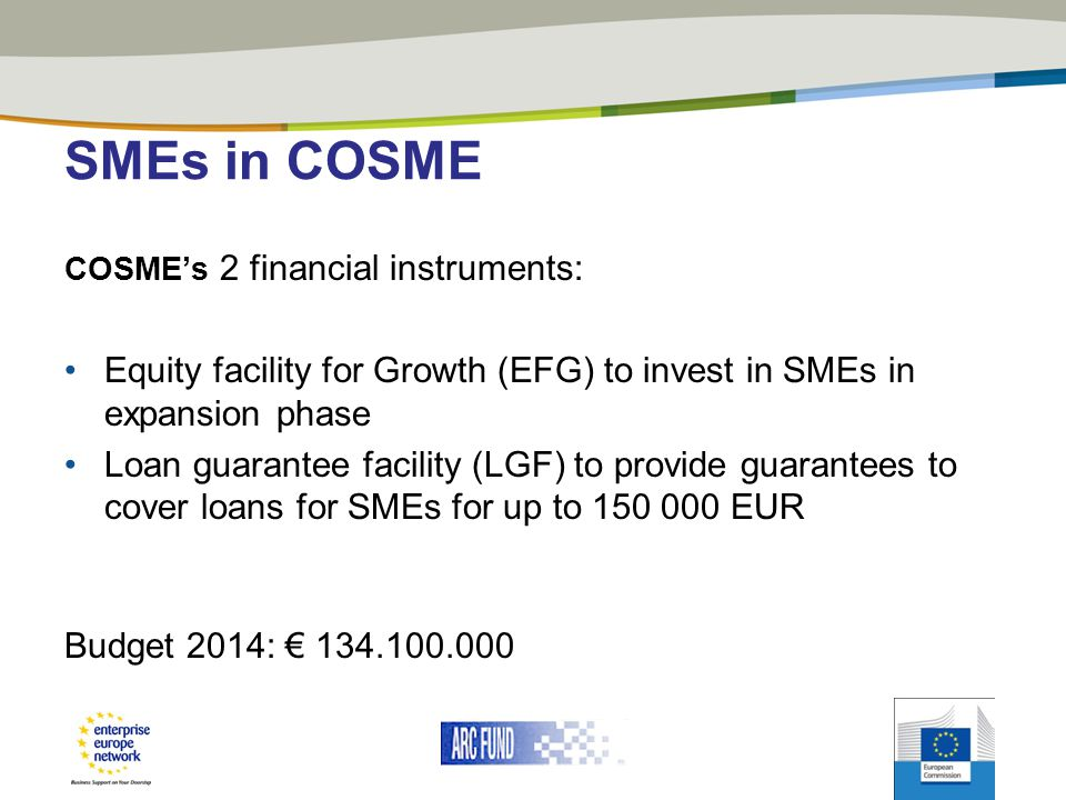 SMEs in COSME COSME's 2 financial instruments: Equity facility for Growth (EFG) to invest in SMEs in expansion phase.