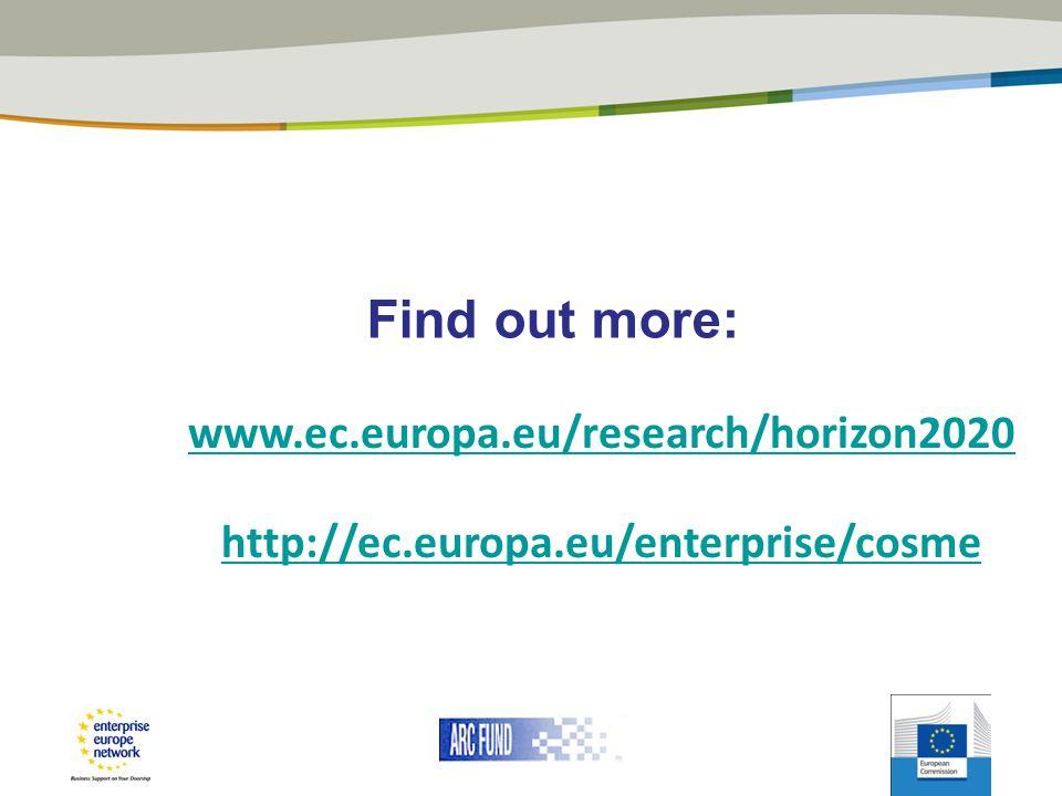 Find out more: www.ec.europa.eu/research/horizon2020