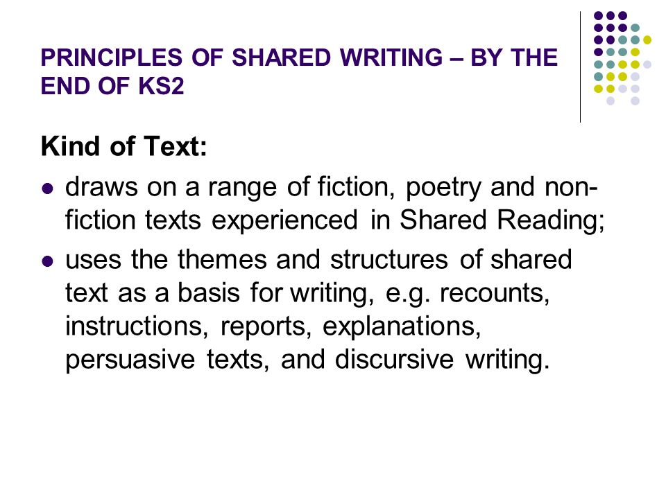 PRINCIPLES OF SHARED WRITING – BY THE END OF KS2