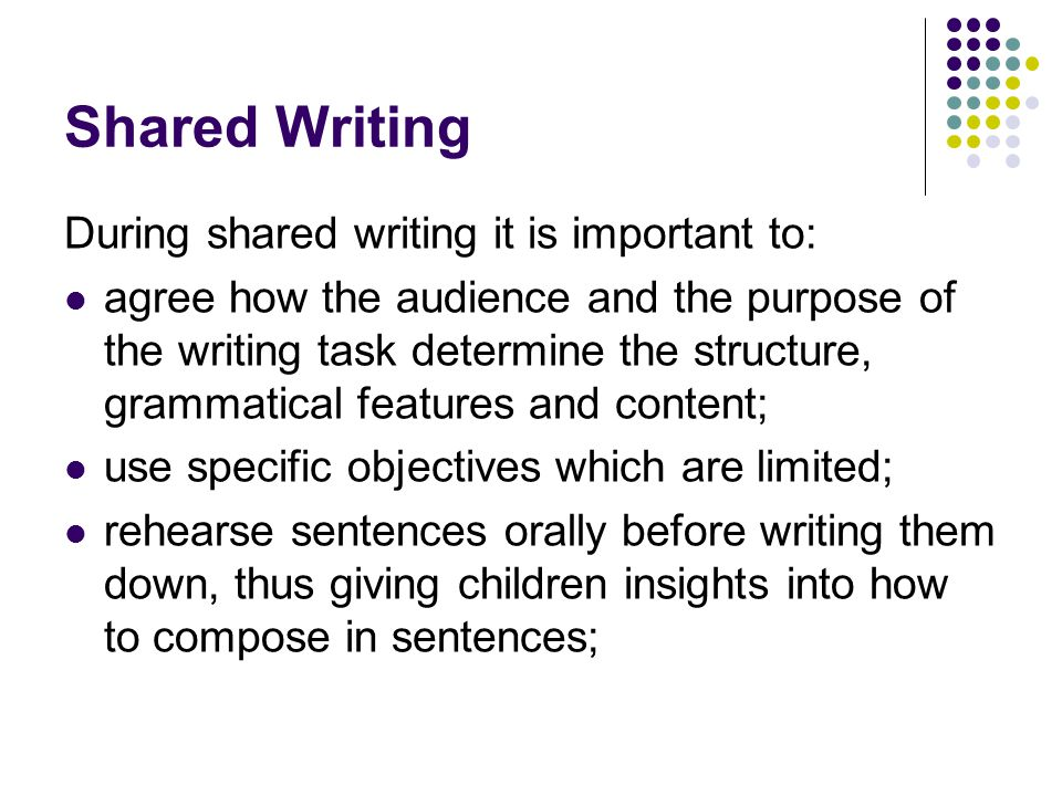 Shared Writing During shared writing it is important to: