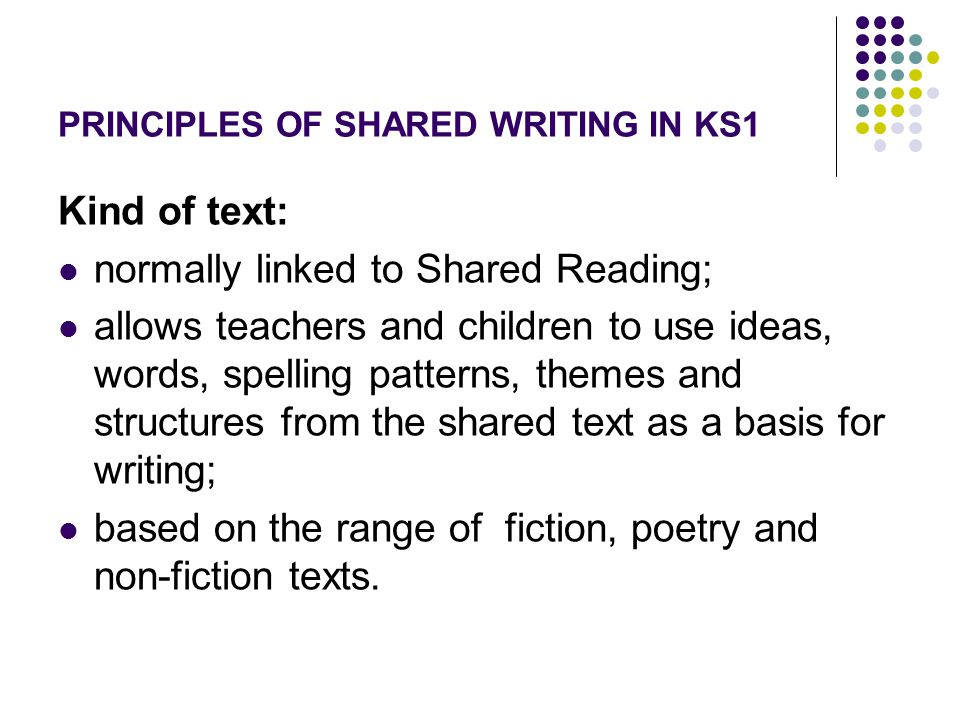PRINCIPLES OF SHARED WRITING IN KS1