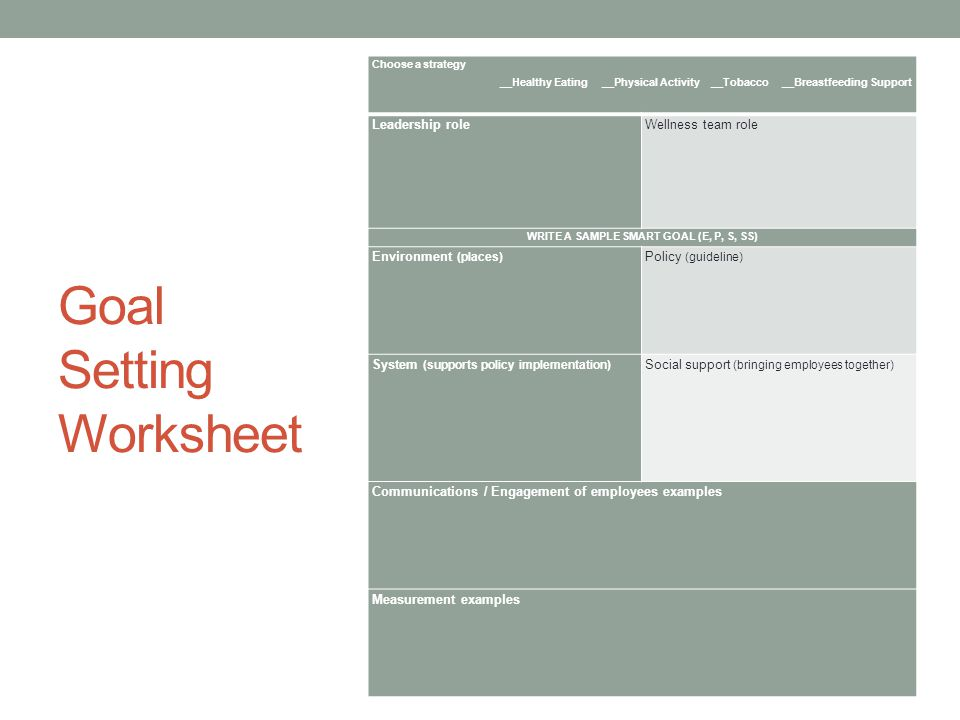 Workplace Wellness Peer Group Goal Setting REVIEW ppt video – Smart Goals Worksheet Pdf