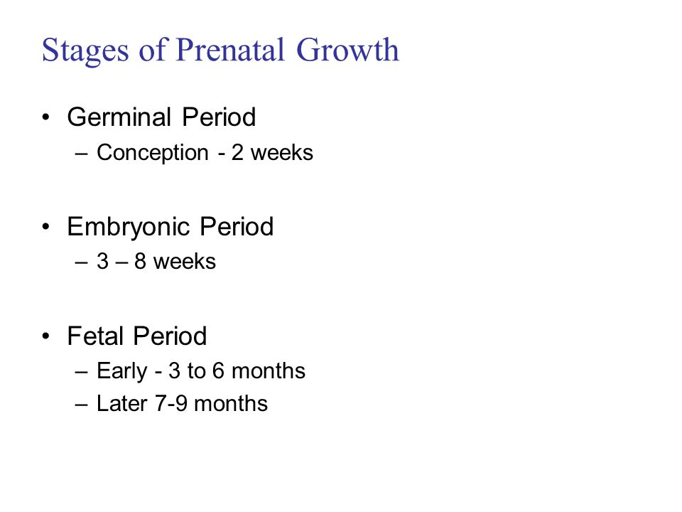 stages of prenantal development A fetus is a stage in the prenatal development of viviparous organismsin human development, a fetus or foetus (/ ˈ f iː t ə s / plural fetuses or foetuses) is a prenatal human between the.